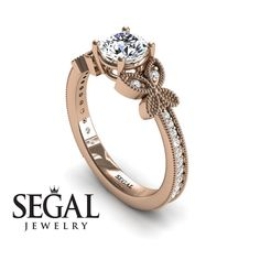 White Gold Engagement Ring by Segal Jewelry Lotus Engagement Ring, Perfect Engagement Ring, Edwardian Ring, Victorian Ring, Pave Ring, Antique Rings, Ring Designs, White Gold, Red Gold