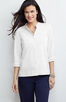 band-collar shirt