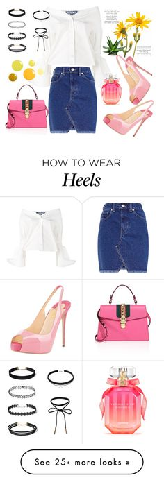 """FSJ pink high heels sandals for summer look"" by fsjamazon on Polyvore featuring Jacquemus, Victoria's Secret and Gucci"