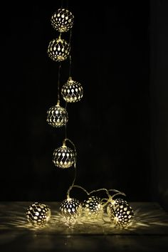 Boho Silver Sphere LED Light String 10CT 5.5 FT LED Battery Operated