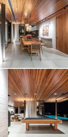A modern interior with a seamless wood ceiling.