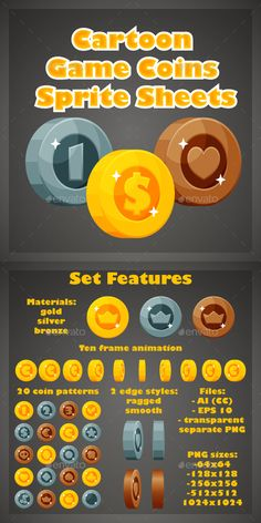 Buy Cartoon Game Coins Sprite Sheets by sunny_sunny on GraphicRiver. Set of cartoon game coins. Features: - Materials: gold, silver, bronze - 20 coin patterns - 10 frame animation for ea. Sprites, Game Ui Design, Web Design, Icon Design, Graphic Design, Game Gui, Game Icon, Icon Set, Jeopardy Game Template