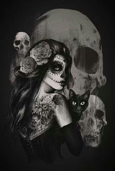 Dia de los Muertos girl with black cat.
