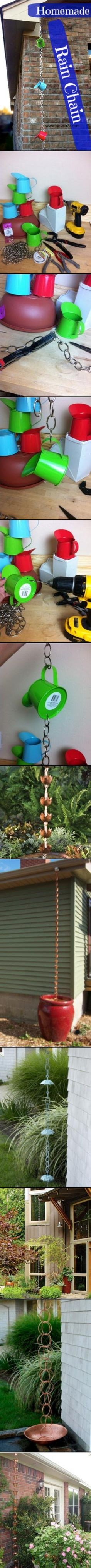 Easy Rain Chain made from products I found at the dollar store!!!!  I made this for 12 dollars!!
