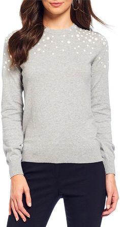 00290435e2b42 MICHAEL Michael Kors Faux Pearl Embellished Fine Gauge Knit Sweater  Dillards, Gauges, Knits,