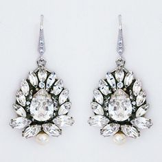 Cheryl King Couture, Marquis Crystal Bridal Earrings. Bold crystal drop earrings that make a statement with any style bridal gown.