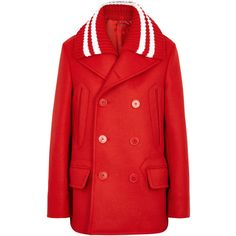 Givenchy Red Double-breasted Wool Blend Jacket - Size 6 (123.685 RUB) ❤ liked on Polyvore featuring outerwear, jackets, givenchy, double breasted wool blend coat, lapel coats, red double breasted coat and double-breasted coat