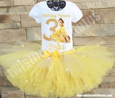 Princess Belle Birthday Tutu outfit | Princess Belle Birthday Party Ideas | Beauty and the Beast Birthday Party Ideas | Disney Princess Birthday Ideas| Birthday Ideas for Girls | Twistin Twirlin Tutus #princessbelle #disneyprincess #birthdayideas