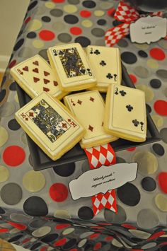 Casino Night Birthday Party: Card sugar cookies