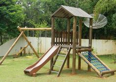 Diy Playground, Small Rustic House, Kids Play Spaces, Jungle Gym, Outdoor Activities For Kids, Backyard For Kids, Outdoor Play, Outdoor Projects, Play Houses