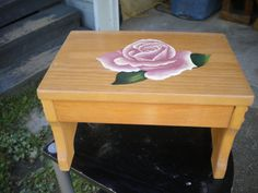 Step stool, wooden stool, acrylic painting, pink rose, hand painted, handcrafted, small bench, woodworking, seat, decorative stool, pine by WoodnThingsNY12534 on Etsy