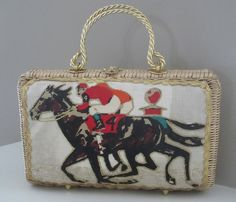 FAB Vintage Wicker Horse lovers Equestrian Purse Handbag Preppy rider jockey horse riding racing dressage polo match Kentucky Derby Ralph Lauren Churchill Downs by LeFrenchVintageInc