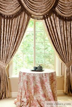 Baroque Floral - Classic Overlapping Swag Valance Curtains Champagne Color Brocade Satin Valance Curtains  http://www.celuce.com/p/46/baroque-floral-swag-valances-curtain-drapes