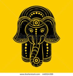 Hamsa hand and the elephant image. Hand of Fatima, vector illustration