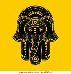Hamsa hand and the elephant image. Hand of Fatima, vector illustration