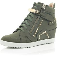 River Island Khaki studded wedge high top trainers (see more studded shoes) High Top Wedge Sneakers, Studded Sneakers, Cute Sneakers, Sneakers Mode, Best Sneakers, Wedge Shoes, High Heels, Shoes Sneakers, Hightop Shoes