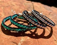 Beaded Leather Hoop Earrings, Sterling Silver or Swarovski Crystal – Fleurdesignz Western Jewelry, Boho Jewelry, Jewellery, Jewelry Design, Fleur Design, Bracelets For Men, Handmade Bracelets, Bangle Bracelets, Leather Cuffs