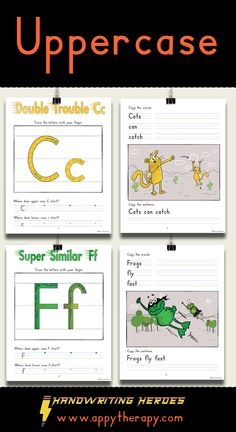 The Handwriting Heroes Upper Case Workbook teaches uppercase letters in relation to their lowercase counterparts. It includes two practice pages per letter. Upper And Lowercase Letters, Lower Case Letters, Lowercase A, Teaching Tools, Teaching Kids, Handwriting Activities, Ipad App, Lightning, Worksheets