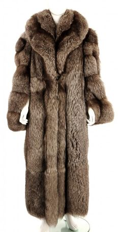 long fur coat | grey long silver fox fur coat : Lot 1018