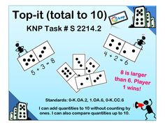 """Top-it (total to 10)"" - Add quantities to 10 without counting by ones and compare the quantities up to 10. Supports learning Common Core Standards: 0-K.OA.2, 1.OA.6, 0-K.CC.6 [KNP Task # S 2214.2]"