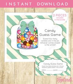 Candy Guessing Game Instant Download Jar Game Teal Boy Pretty Printable New Mom Party Digital Game Shower Activity Invitation Insert by TppCardS #tppcards