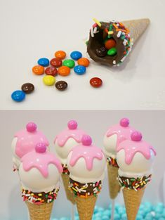 Ice cream cake pops - add candy inside of the cone Dips Ice Cream, Ice Cream Cone Cake, Ice Cream Party, Cake Pops, Cake Push Pops, Cupcake Cake Designs, Cupcake Cakes, Easy Food Art, Graham Cake