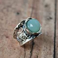 New Arrival! Handcrafted faceted aqua quartz and sterling silver ring $89 #rings#aqua