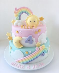 New Birthday Cake Rainbow Pastel 27 Ideas Baby Birthday Cakes, Rainbow Birthday Party, 1st Birthday Cake For Girls, Birthday Ideas, Rainbow Wedding, Birthday Recipes, Girl Cakes, Baby Cakes, Food Cakes