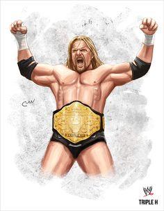 WWE Triple H (World Heavyweight Champion Big Gold) by baguettepang.deviantart.com on @DeviantArt