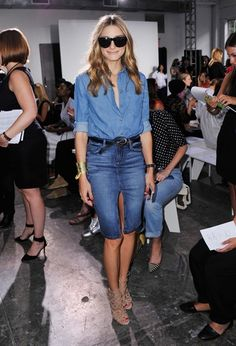 Olivia Palermo wearing a Topshop shirt, Black Orchid skirt, and Aquazurra x Olivia Palermo sandals at the Nonoo Spring 2015 show