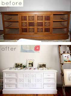Lots of before & after furniture redo. WOW- that's is gorgeous in white and sooooo ugly beforehand!!