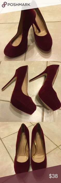 """Colin Stuart Suede Platform Pre-owned Colin Stuart platform pumps. Burgundy color, Size 10B. Beautiful pair of shoes with 5"""" heel. Normal wear and tear seen in photo #4. Great  condition. """"No Trade"""". Colin Stuart Shoes Platforms"""