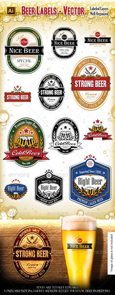 Beer Labels — Vector EPS #glass #band • Available here → https://graphicriver.net/item/beer-labels/4901788?ref=pxcr