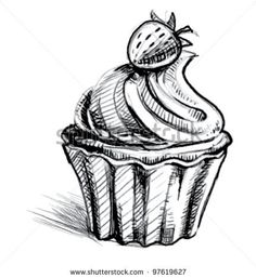 stock vector : Creamy cup cake with delicious berry. Hand drawing sketch vector icon