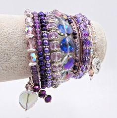 Purple beaded bracelet memory wire bracelet purple wrap