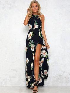 Navy Blue Sleeveless Floral Print Split Beach Halter Maxi Dress