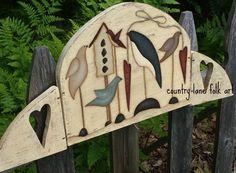 Summer song birds, Folk art birds, nature, table top sign, primitive home decor, bird decor, country garden birds, rustic home decor