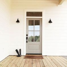Front porch ideas, farm house, white house with black lights, White Hardie Board,  Shaylee Adrian Webb Design #whitelanedecor