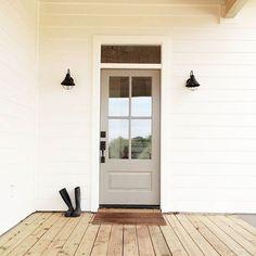 Front porch ideas, farm house, white house with black lights, White Hardie Board, Shaylee Adrian Webb Design #whitelanedecor