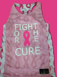 Cancer ribbon lacrosse pinnies for girls in fight for the cure.  Made to order in Maryland USA by Lightning Wear.