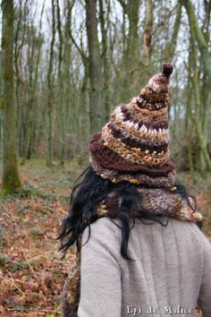 Brown autumnal witchy hat witch hat pointed hat by EpiDeMalice