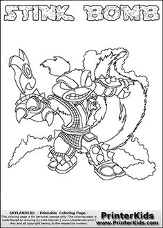 skylanders swap force coloring pages stink bomb - minecraft weapons coloring page minecraft coloring pages