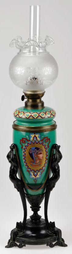 Egyptian Revival oil lamp, French