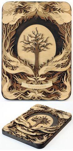 Ilustraciones 3D hechas con laminas de madera
