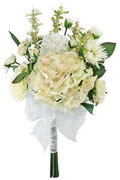 English Garden Blush Ivory Hand Tie Medium - Silk Bridal Wedding Bouquet - TheBridesBouquet.com