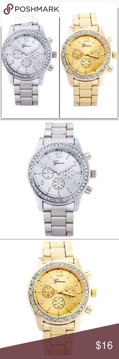 """STUNNING Geneva Bling Watch Geneva bling watch. Links can be removed for sizing.                                                                                Dial diameter is approximately 1.5"""".   This listing is for Silver and Gold Tone.                      Available in Silver, Gold, Coffee and Rose Gold tones.  (See other listing for Coffee and Rose Gold tone).                                    Please select color from sizing options.   ❗️Price is firm unless bundled❗️ Accessories…"""