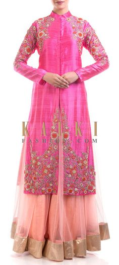 Buy Online from the link below. We ship worldwide (Free Shipping over US$100) Price- $389 Click Anywhere to Tag http://www.kalkifashion.com/heavily-embroidered-pink-raw-silk-jacket-with-peach-lehenga.html