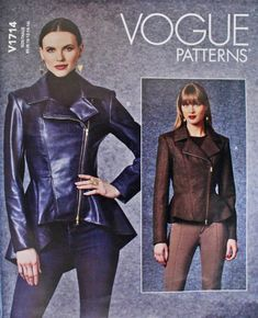 Vogue sewing pattern for jacket with peplum in 2 lengths | Etsy