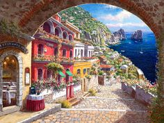"""Sam Park Limited Edition Hand Embellished Giclee on Canvas:""""Archway to Capri"""" Artist: S. Sam Park Title: Archway to Capri Size: 30 x 40 Edition: Artist Signed and Numbered Limited Edition COA included. York Art Gallery, Fine Art Gallery, Mediterranean Paintings, Mediterranean Sea, Park Art, Painting Services, New York Art, Animal Paintings, Art Paintings"""