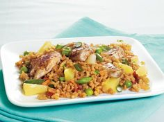 Caribbean Chicken Fried Rice - Island dinner ready in 30 minutes! Try this wonderful meal packed with Progresso® chicken broth, Betty Crocker® Asian Helper® fried rice and Green Giant® Valley Fresh Steamers® sweet peas.
